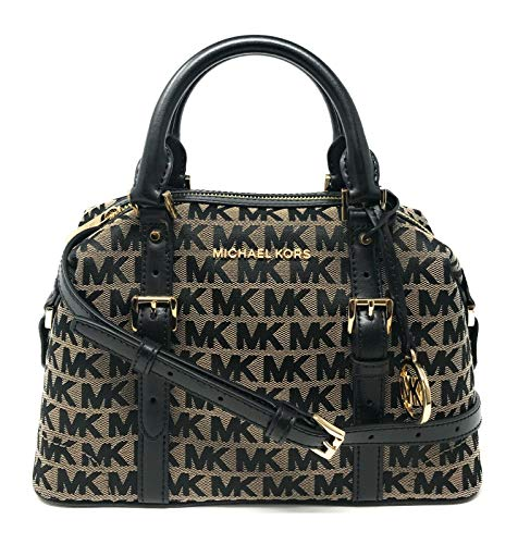 """Made of MK logo canvas with leather trims and straps Removable and adjustable shoulder strap, wear crossbody, over the shoulder or carry by hand Top zip closure Inside 1 zip pocket and 2 slip pockets 9.5""""L x 6.5""""H x 4.5""""D"""