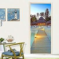 ドアステッカー 写真の壁紙、カスタム3Dウォールミューラル海辺海辺のドア壁画ステッカーリビングルームレストランクリエイティブインテリアウォールペーパー (サイズ : 95cm x 215cm)-77cmx 200cm