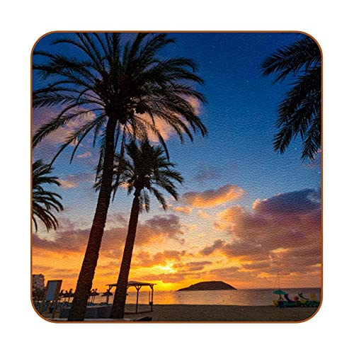 Aislamiento térmico de Posavasos Mallorca Sunrise en Magaluf Palm Anova Beach Drink Cup Mat 6PCS para Bebidas Proteger Muebles y Mesa