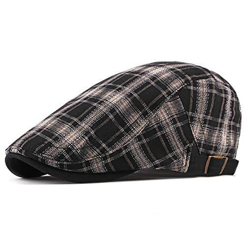 Damen Flat Top Fashion Plaid Baskenmütze Hut männlich lässig Ente Forward Cap