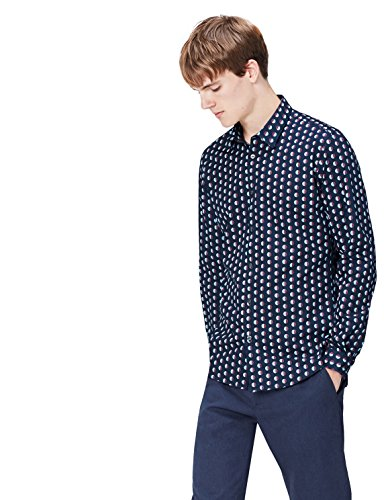find. Camisa Entallada de Lunares para Hombre, Azul (Navy), Medium