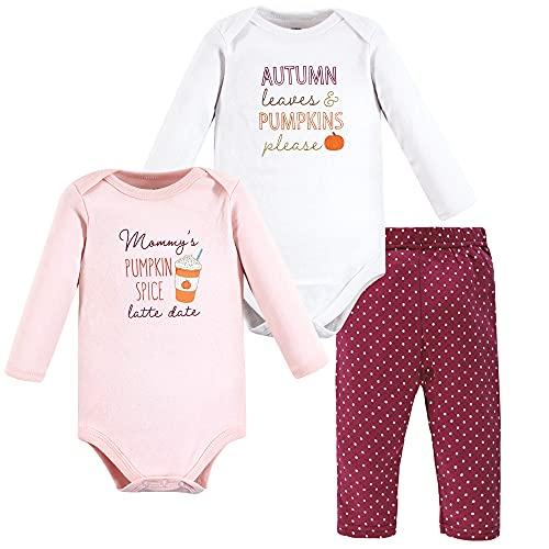 Hudson Baby Unisex Baby Cotton Bodysuit and Pant Set, Pumpkin Spice Date, 0-3 Months