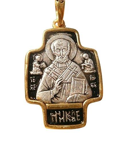 Croix Grecque Orthodoxe Saint Nicolas Argent 925 et Plaquée Or avec Cordon Cuir GE16