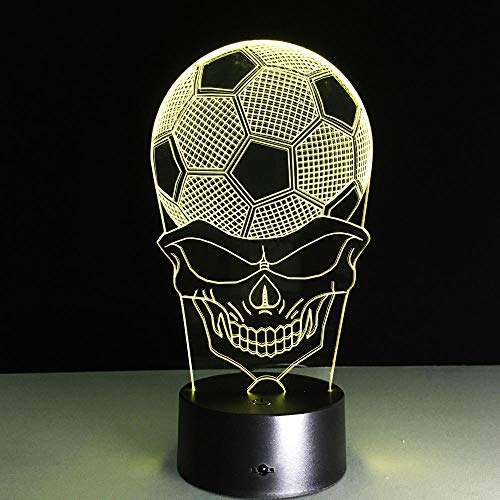 Wangzhongjie Lámpara 3D De Fútbol, Luz De Noche De Calavera Led Con Lámpara De Mesa Táctil Remota, Lámpara De Atmósfera De Ilusión Óptica Usb, Regalo De Navidad