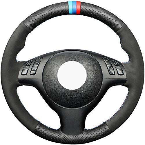 HCDSWSN Schwarzes echtes Leder Wildleder DIY Auto Lenkradabdeckung für BMW E46 E39 330i 540i 525i 530i 330Ci M3 2001-2003