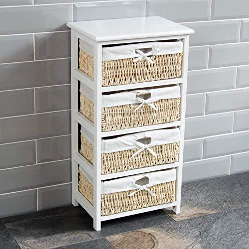 Home Vida Weißer Aufbewahrungsschrank aus Holz mit 4 Maisgesflechtsschubladen und Textilbeuteleinlagen, Aufbewahrung