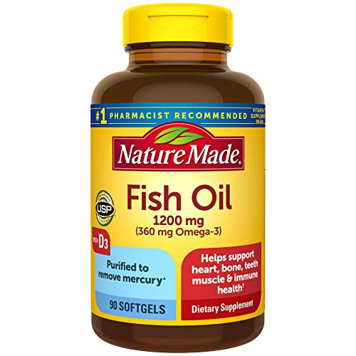 Nature Made Fish Oil Omega 3 1200 mg with Vitamin D3 2000 IU, 90 Softgels, Omega 3 Supplement For Heart, Bone, Teeth, Muscle, and Immune Health (Pack of 3)