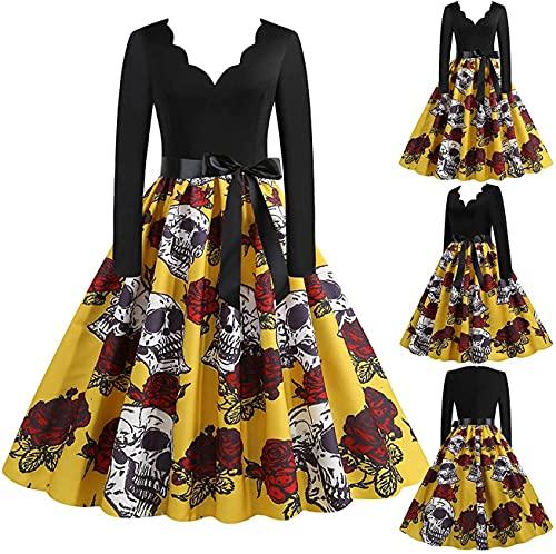 Vestido de fiesta vintage de Halloween de los años 50 para mujer, vestido de fiesta de noche, vestido de fiesta de graduación de manga larga Swing Rockabilly vestido de fiesta de, amarillo, XL