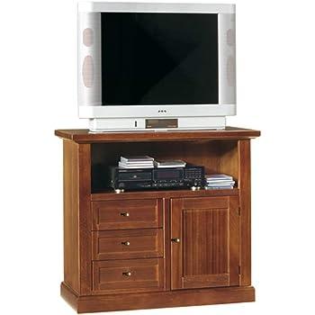 40 x 160 x 56 InHouse srls Mobile Porta TV Mis in Legno massello e MDF con rifinitura in Bianco Opaco Arte povera