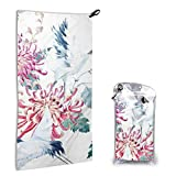 Watercolor Pattern Red Heads Crane Chrysanthemum Hand Towels Beach Towel Instant Cool Ice Towel Gym Quick Dry Towel Microfibre Towel Cooling Sports Towel 15.7 X 31.5 Inch with 1 Carrying Bag