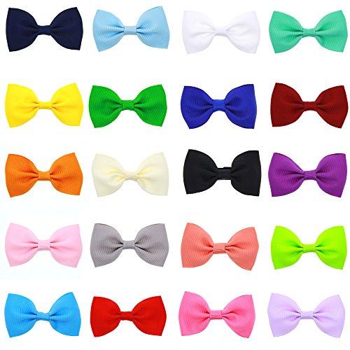 Lolitarcrafts Lot de 20 barrettes à cheveux nœud pour bébé fille 20 couleurs mélangées
