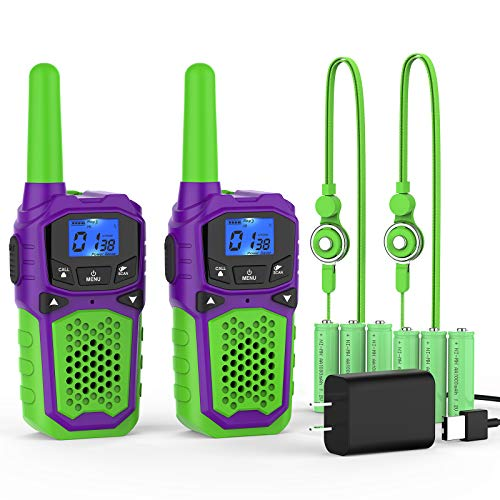 Rechargeable Walkie Talkies for Adults Kids,Portable Two Way Radios Long Range with NOAA USB Chargers and 6 Batteries for Camping Hiking Outside Adventures