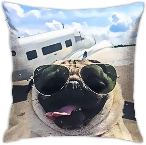 MODORSAN Kissenbezug Lustiger Mops mit Sonnenbrille Airline Decorative Throw Kissenbezug Kissenbezüge