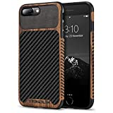 TENDLIN Kompatibel mit iPhone 7 Plus Hülle/iPhone 8 Plus Hülle Holz & Carbon Fiber Leder Flexiblem TPU Silikon Hybrid Weiche Schutzhülle Kompatibel mit iPhone 7 Plus & iPhone 8 Plus