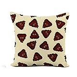 N\A Throw Pillow Cover Brown Pattern Happy Poop Funny Patch Poo Emoticon Pop Funda de Almohada Decoración para el hogar Funda de Almohada de Lino de algodón Cuadrada Funda de cojín