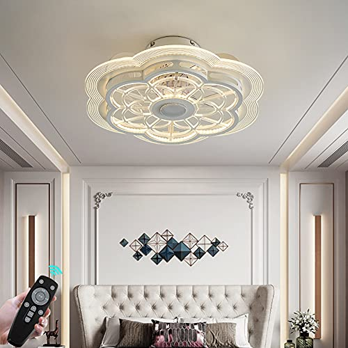 Ventiladores de Techoo con Mando a Distancia LED Moderna Lámpara de Techo Regulable 80W Diseño con Pétalos Creativos Acrílico Luces De Techo para Salón Dormitorio, 3 velocidades Ø50CM Blanco