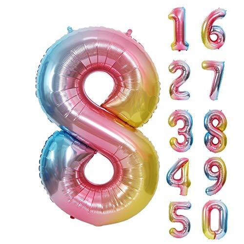 Luftballon 8. Geburtstag Rosa, Geburtstagsdeko 8 Jahr Mädchen, Regenbogen Number Folienballon, Riesen Folienballon 8 Rosa, Deko 8 Geburtstag Mädchen, Ballon 8 Deko zum Geburtstag, Banner