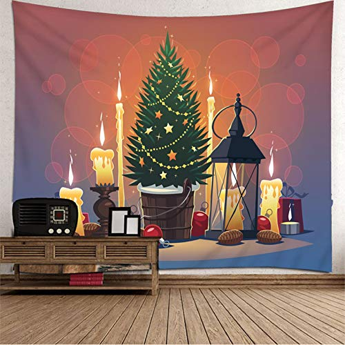 Daesar Christmas Tapestry Wall Hanging, Tapestry for Bedroom Girls Christmas Tree Candle Gift Polyester Tapestry Green Red Yellow Wall Hangings for Bedroom 138 x 100 Inch
