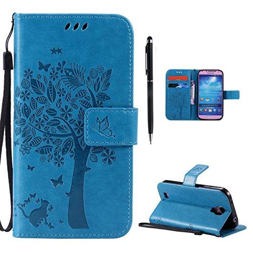 Hancda Hülle für Samsung Galaxy S4 Mini [Nicht für S4] Hülle Leder Flip Case, Schutzhülle Ledertasche Handyhüllen Cover Magnet Geldbörse Stoßfest Handytasche für Samsung Galaxy S4 Mini,Hülle Blau