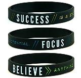 11thGear Success Focus Believe - Bracelet de Motivation en Silicone - Cadeau de Sport pour Elle 2018