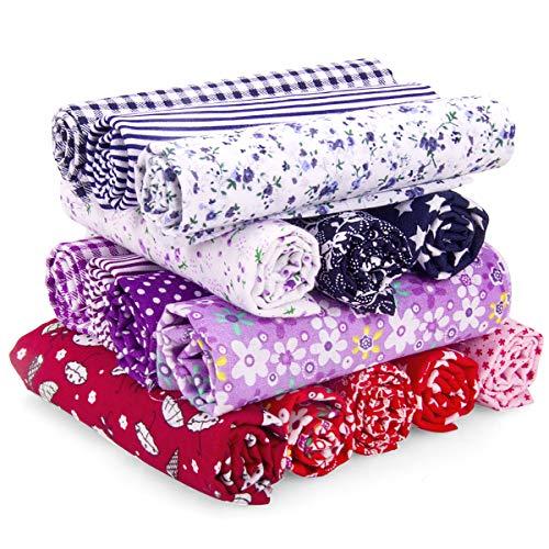 Adkwse DIY patchwork hecho a mano, 15 piezas, 100 % algodón, tejido de algodón estampado, para ropa, ropa de cama, cortinas, manteles, etc. Hecho a mano (50 x 50 cm)