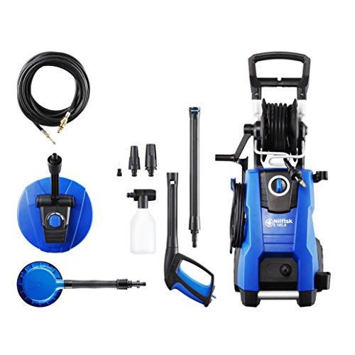 Nilfisk 128471191 Hidrolimpiadora 145 Bares con Motor de inducción (Incluye Patios, Cepillo Giratorio y Limpiador para desagües), 2100 W, 230 V, Azul, Size