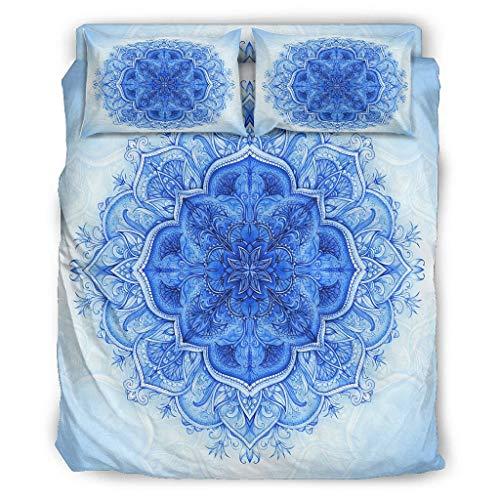 Butterfly Goods Bettdecke Blauemandala Weiche Mikrofaser Leicht - 1 Bettbezug & 2 Kissenbezüge & 1 Tagesdecke für Mädchen Schlafzimmer White 175x218cm