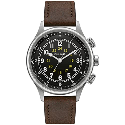 Bulova Men's Stainless Steel Automatic Watch with Leather Strap, Brown, 20 (Model: 96A245)