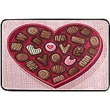 Nancyint Glücklicher Valentinstag Dekorative Fußmatte Wohnkultur Praline Süßes Herz Liebe Willkommen Indoor Outdoor Eingang Badezimmer 60 * 39 Zoll