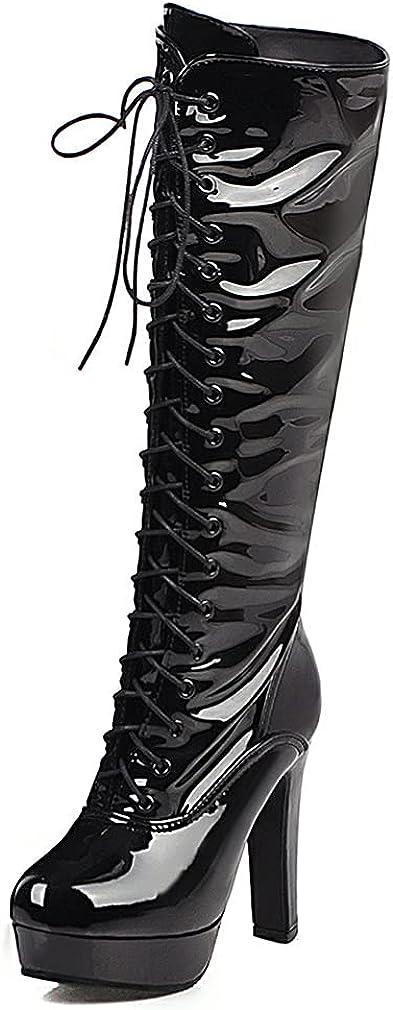 Edgchic Women Fashion Lace Up Zipper Platform Knee High Boots Party Mid Calf Chunky High Heel Go Go Boots