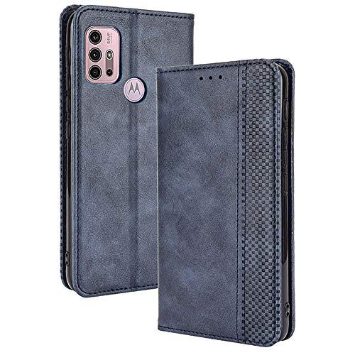 ALAMO Retro Klapp Hülle für Motorola Moto G10 / G20 / G30, Premium PU Leder Handyhülle mit Kartenfächer & Geldbeutel - Blau