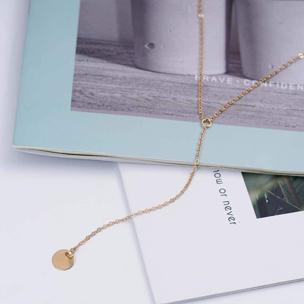 Zoestar Sequine Necklace Multilayered Gold Pendant Summer Beach Chain Jewelry Accessories for Women