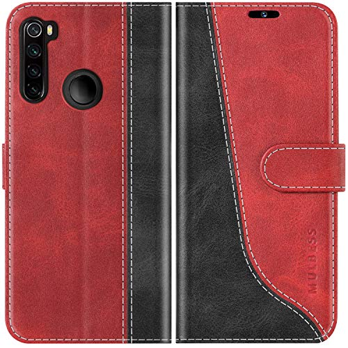 Mulbess Funda para Redmi Note 8, Funda con Tapa Xiaomi Redmi Note 8, Funda Xiaomi Redmi Note 8 Libro, Funda Cartera para Xiaomi Redmi Note 8 Carcasa, Vino Rojo