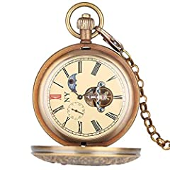 Retro Large Mechanical Watch for Men Horizontal Phases Moon Sun 24 Hour Skeleton Pocket Watches for Women Pendant Chain #2