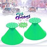 Round Ice Scraper, Car Windshield Snow Scraper Magic Snow Removal Tool, Cone-Shaped Windshield Ice Scraper, Snow Removal Shovels Tool (Green - 2 Pack)