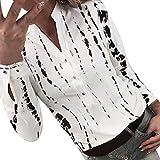GoldenChuan Moda de Verano de Gasa Tie-Dye Estampado en Blanco y Negro Salvaje de Manga Larga Suelta cómoda Blusa de Botones