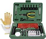 Kit de Reparación de Neumáticos, TECCPO Reparación de Neumáticos 100pcs, con Mechas para llantas, Herramientas Automotrices Punción Multifunciona, Guantes Resistentes, Clavos de Reparación Rápida
