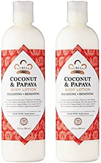 Nubian Heritage Coconut & Papaya Body Lotion (Pack of 2) with Shea Butter, Cocoa Seed Butter, Olive Oil, Aloe Vera Juice, Papaya Fruit Extract, Songi Mushroom Extract and Roselle Flower, 13 oz