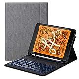 Tastatur für iPad Mini 5 QWERTZ, Folio Hülle aus PU-Leder mit 7 Farben LED-Hintergr&beleuchtung Kabellose Tastatur Auto Sleep/Wake magnetisch für iPad Mini 5 7.9 Zoll, Grau