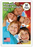 Magtech Magnetic Photo Pocket Picture Frame, White, Holds 4 x 6 Inches Photos, 10 Pack (14...