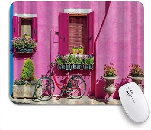 Gaming Mouse Pad rutschfeste Gummibasis, bunte Häuser in Burano Island in der Nähe von Venedig Fahrrad, für Computer Laptop Office Desk