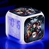 BMSYTY 7 variaciones de color led pantalla niño reloj despertador de dibujos animados led luz cuadrado número retro 1