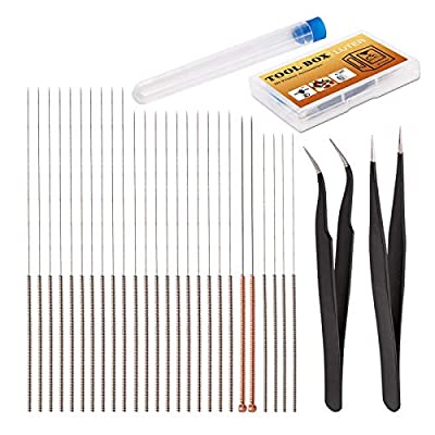 LUTER 28 Pieces 3D Printer Nozzle Cleaning Tool Kit 3D Extruder Nozzle Cleaners for 3D Printer including 26 Pieces 0.15mm, 0.25mm, 0.35mm, 0.4mm, 0.5mm Cleaning Needles 2 Pieces Tweezers