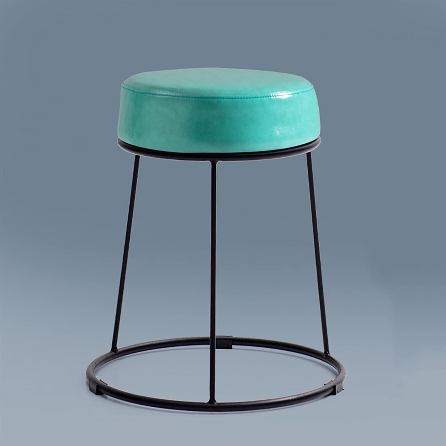 Wrought Iron Stool Fashion Home Creative Water bluee color Table Stool Sofa Stool Small Round Stool (Size   L)