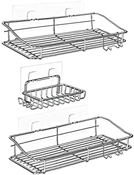 3-Pack Nieifi Shower Caddy Basket with Hooks Soap Dish