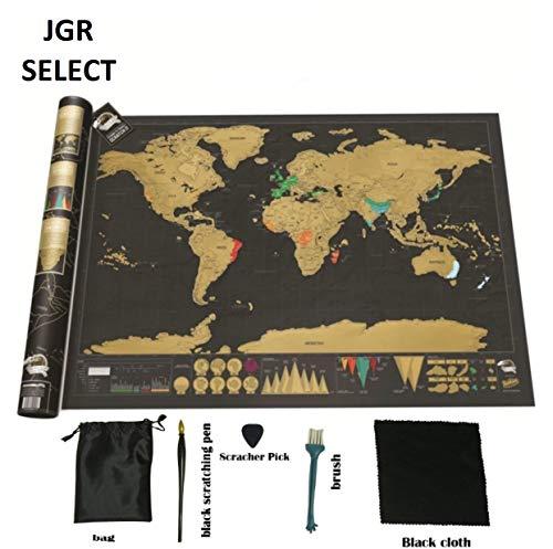 JGR SELECT Mapa Mundi Rascar - Mapamundi Extra grande, Color Negro y Dorado - Incluye Kit Rascador y Tubo de Regalo – Mapa de Rascar del Mundo Para Pared