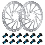 Yangfei 2Pcs Disco de Freno 160mm Rotor de Freno de Disco de Bicicleta, Rotores para Bicicletas con 12 Tornillos, Rotor de Freno de Disco Flotante Disco Suelto de Freno (160mm)