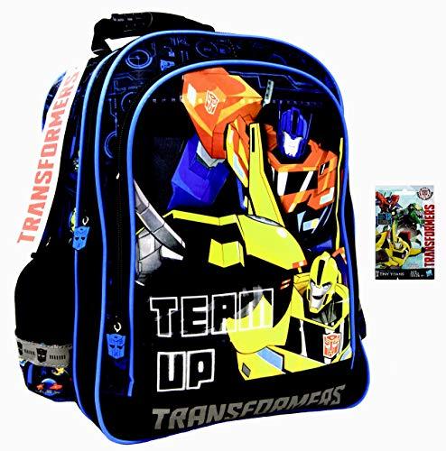 51xFwkS0gxL - Transformers Team Up - Mochila escolar (38 x 29 x 18 cm, para DIN A4), diseño de Optimus & Bumblebee