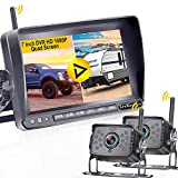 LeeKooLuu F07 HD 1080P Wireless Backup 2 Cameras Stable Digital Signals for RVs,Trailers,Bus,Motorhome,5th Wheels with 7'' DVR Monitor High-Speed Observation System IP69 Waterproof