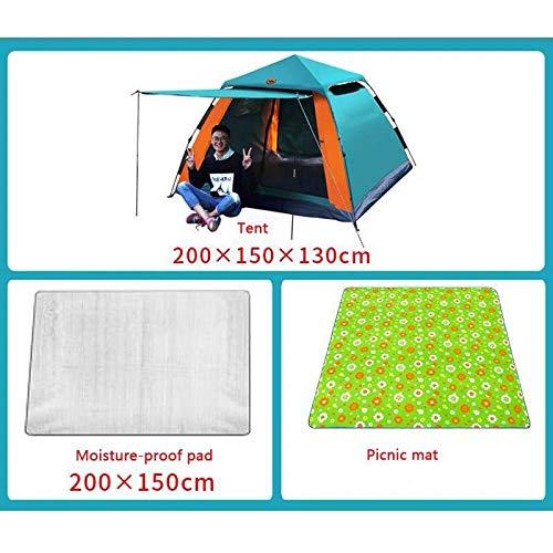 HYQW Camping Tienda Carpa Exterior Totalmente Automática 3-4 Personas Cubierta De Carpa Pareja Doble Puerta Doble Transpirable Salvaje